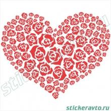 Наклейка на авто или для интерьера - Сердце из роз