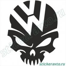 Наклейка на авто - Volkswagen череп